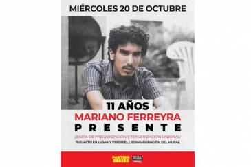 Miércoles 11hs en Luján y Perdriel, acto a 11 años del asesinato de Mariano Ferreyra