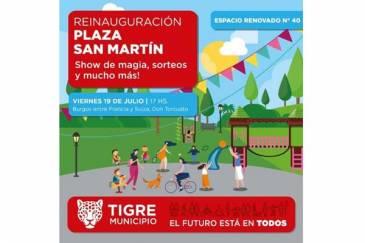 Tigre reinaugura la Plaza San Martín